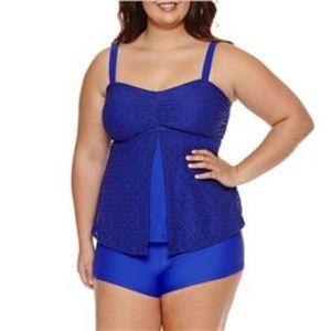 Aqua Couture Crochet Bandeau Swimsuit Top Blue